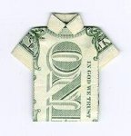 Final result of shirt made out of a dollar bill.